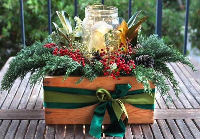 decoración de navidad centro de mesa