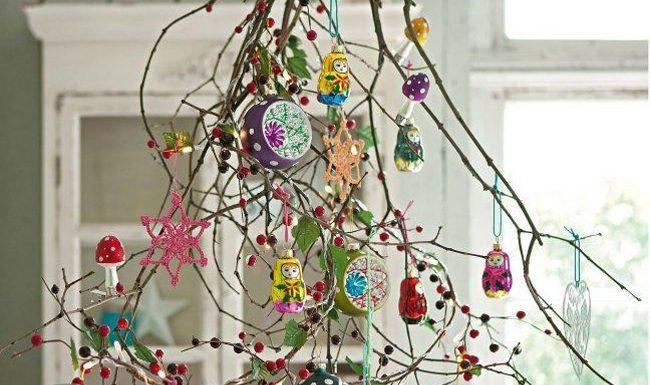 decoración de navidad ramas con color