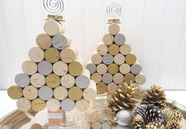 decoración de navidad corchos